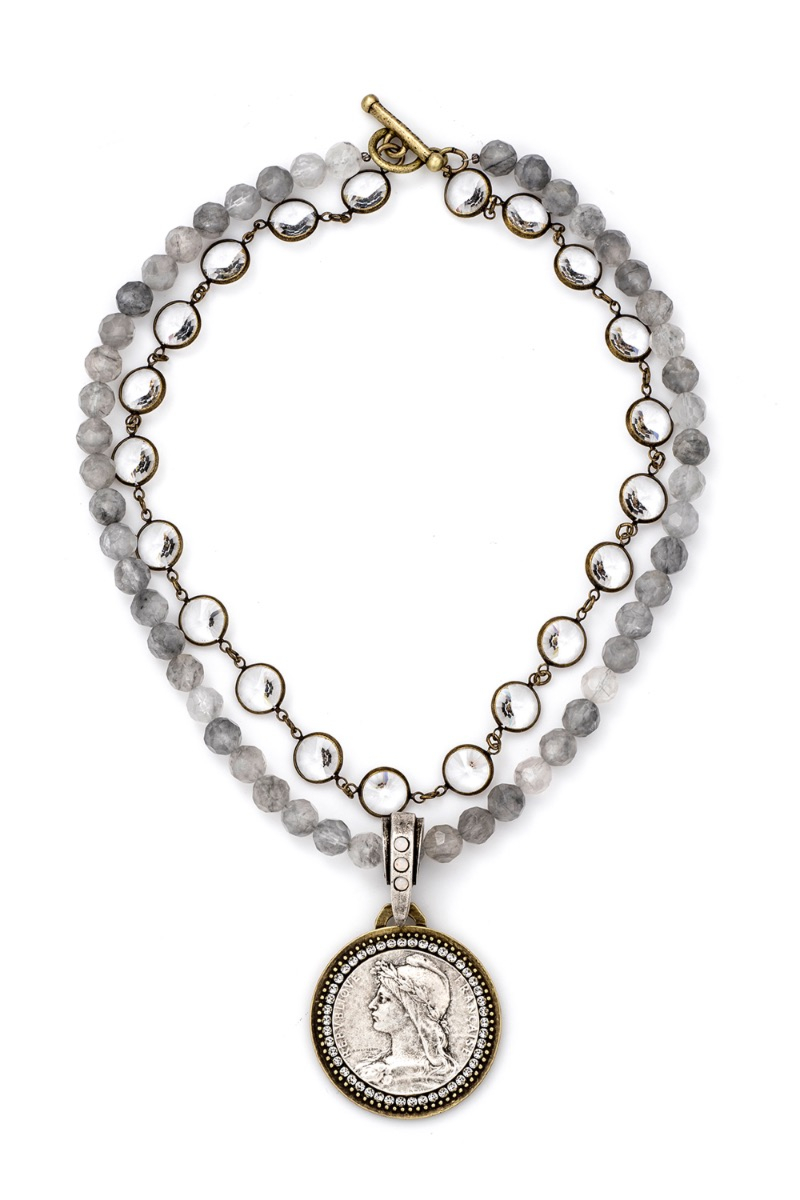 DOUBLE STRAND FACETED CLOUDY QUARTZ WITH SWAROVSKI RIVOLI, CHEMINS MEDALLION AND SWAROVSKI