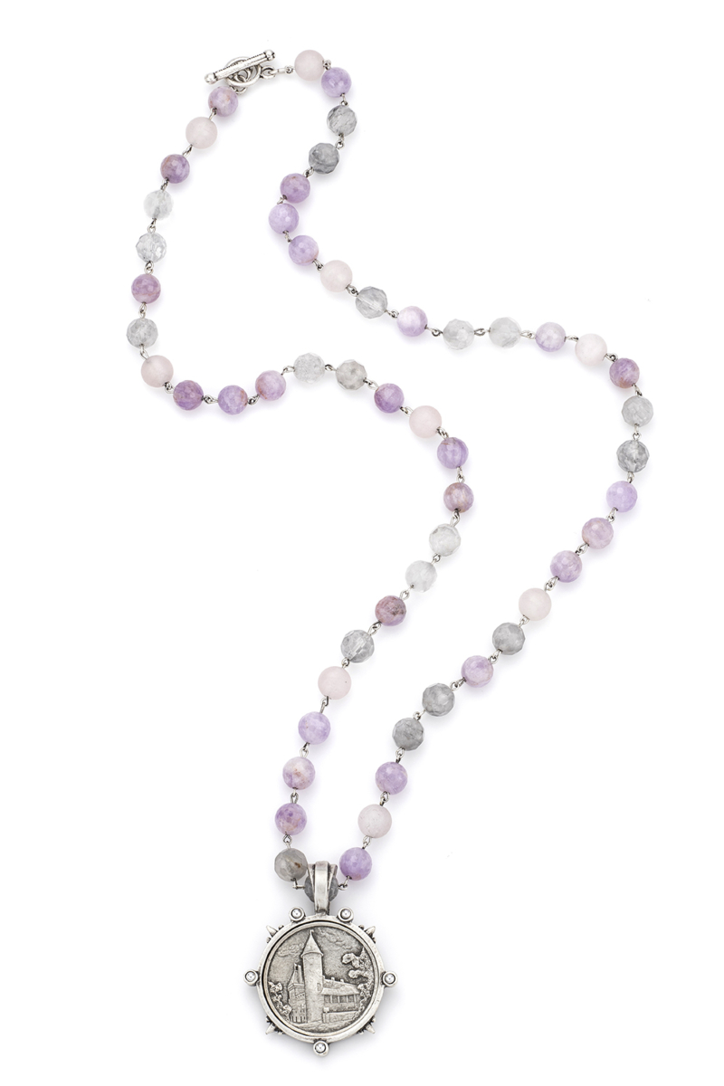 LAVENDER MIX WITH SILVER WIRE AND PASQUIER MEDALLION