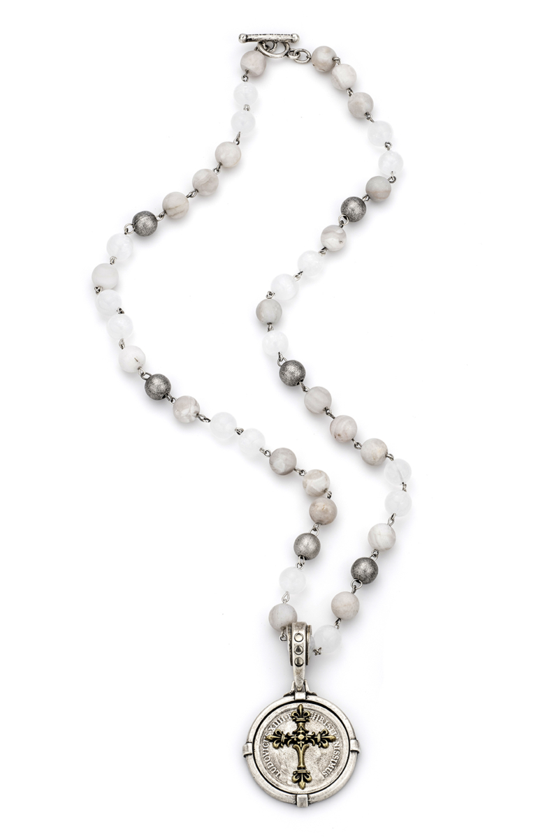 LINEN MIX WITH SILVER WIRE AND REX CROSS STACK MEDALLION