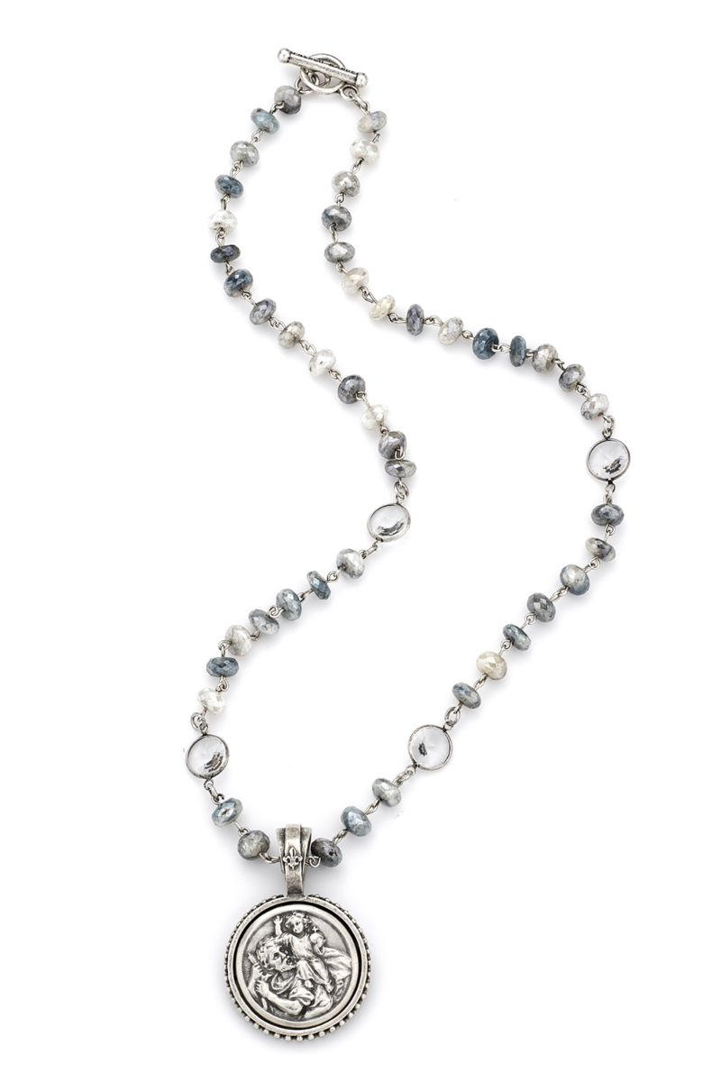 SILVERITE WITH SILVER WIRE, SWAROVSKI AND ST. CHRISTOPHER MIKO MEDALLION
