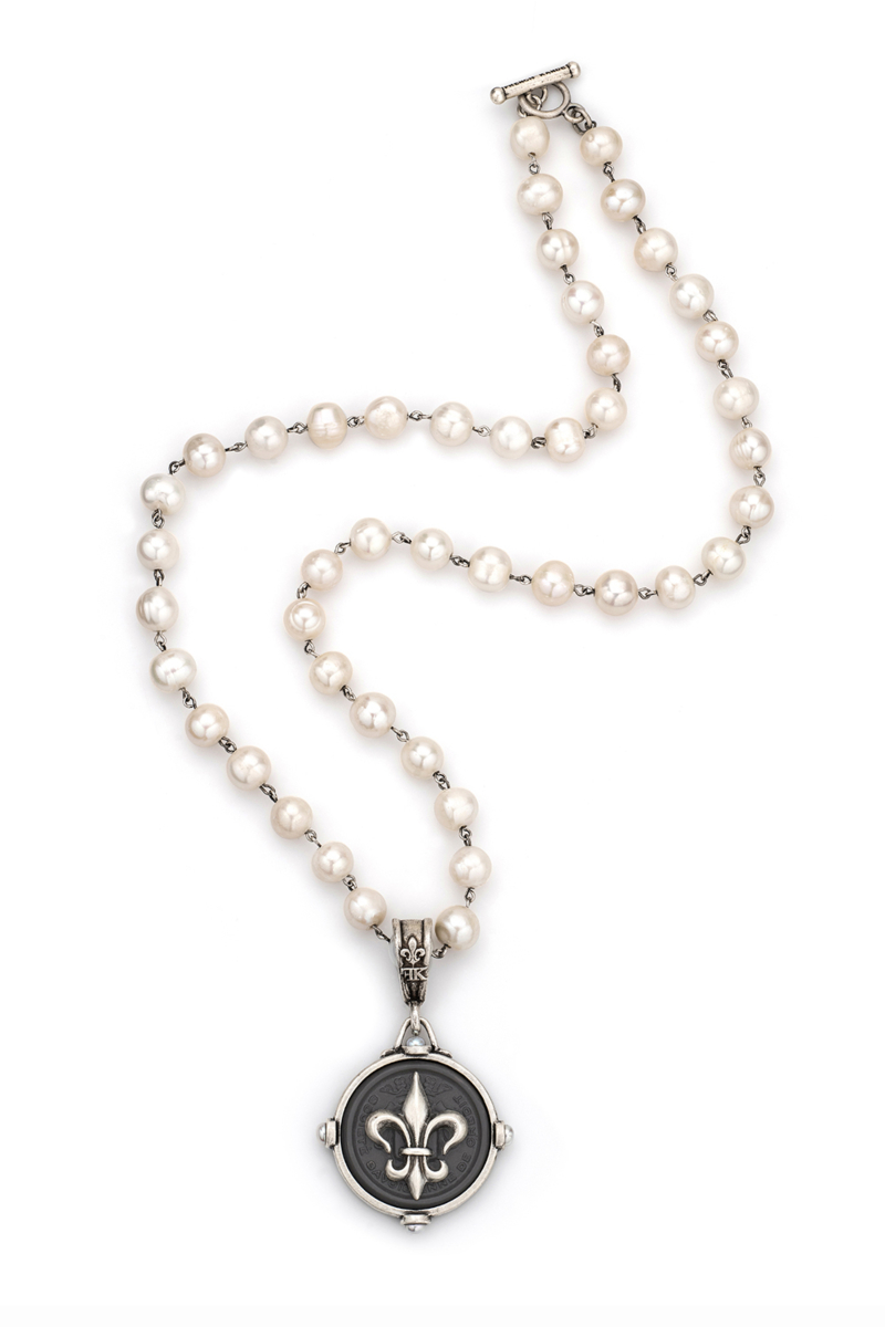 PEARLS WITH SILVER WIRE AND GRAPHITE CENTENNIAL FLEUR STACK MEDALLION