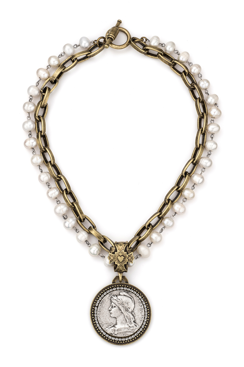 DOUBLE STRANDED PEARLS WITH SILVER WIRE, LYON CHAIN AND CHEMINS MEDALLION AND SWAROVSKI
