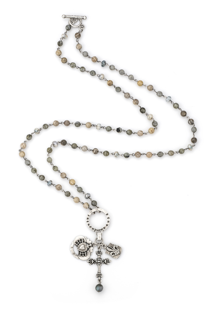 MEDITERRANEAN MIX WITH SILVER WIRE, HOOP, IMMACULATE HEART, FDL PENDANT AND FDL CROSS