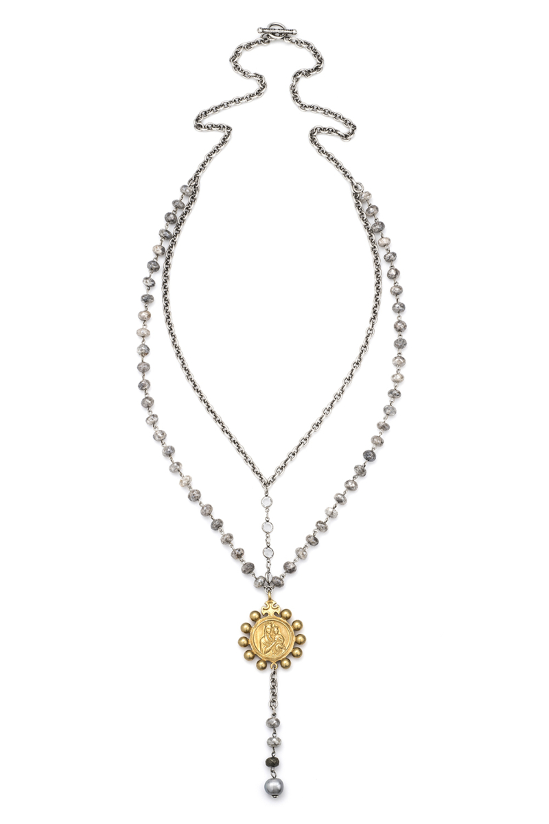 CHAIN AND SILVERITE WITH SILVER WIRE, SWAROVSKI AND 14K GOLD CROWNING MARY MEDALLION