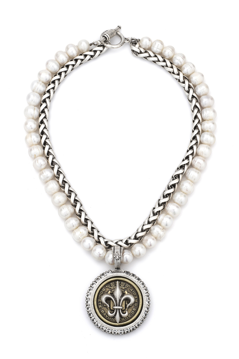 DOUBLE STRANDED PEARLS AND CHEVAL CHAIN WITH CENTENNIAL FLEUR STACK MEDALLION AND SWAROVSKI
