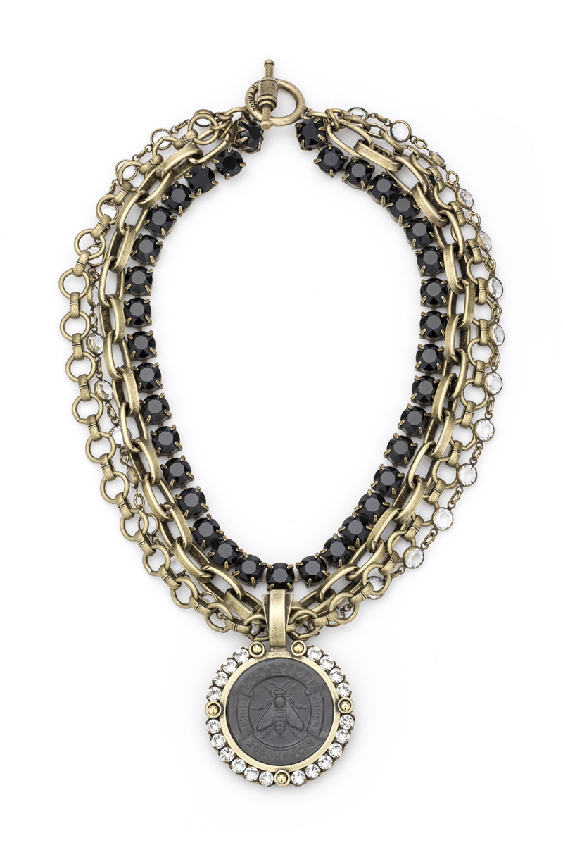 FOUR STRAND SWAROVSKI AND CHAIN WITH GRAPHITE ABEILLE MEDALLION AND SWAROVSKI