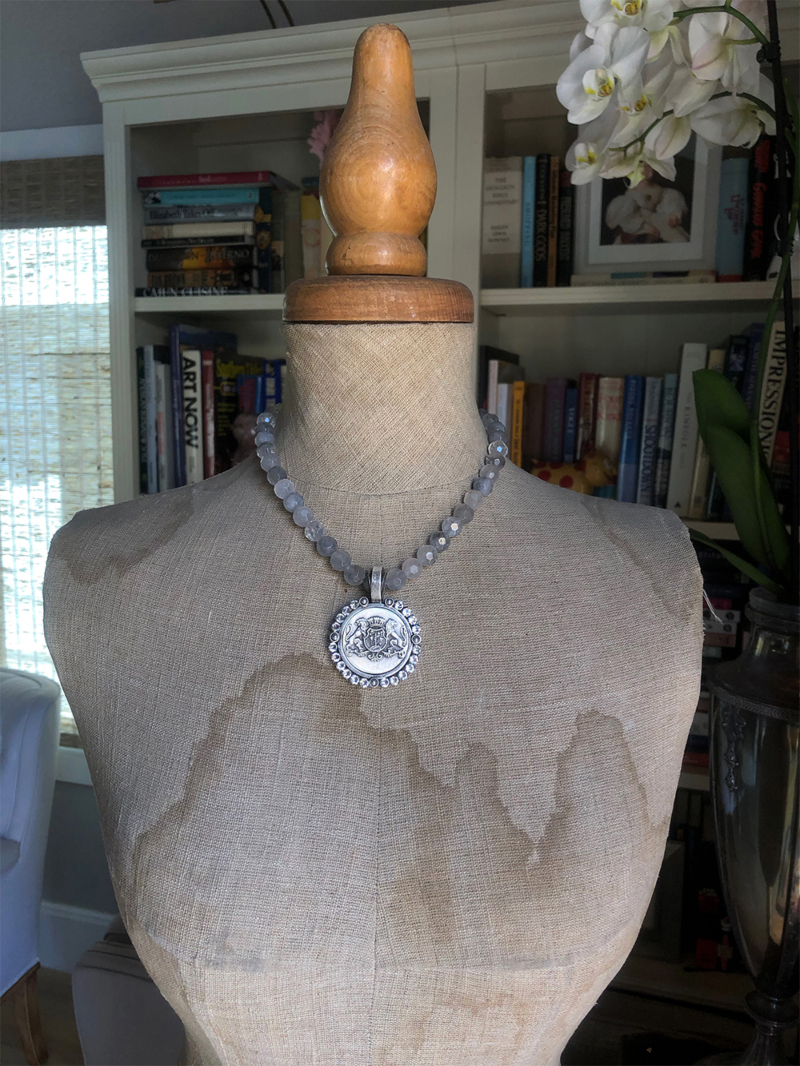 FACETED CLOUDY QUARTZ WITH AIME MEDALLION AND SWAROVSKI