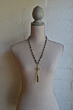 FACETED SILVERITE AND PYRITE WITH FLEUR CROSS STACK AND TASSEL
