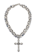 DOUBLE STRAND FACETED SILVERITE WITH LYON CHAIN AND SWAROVSKI FDL CHANNEL CROSS