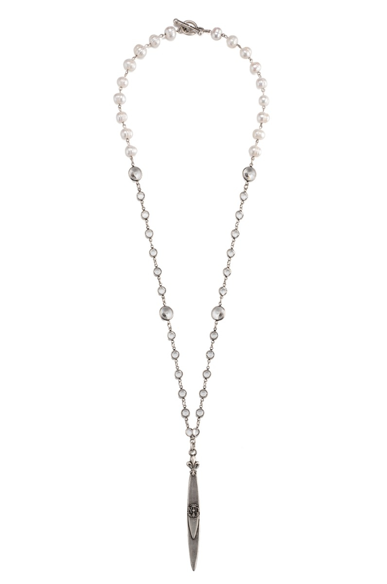 SWAROVSKI AND PEARL WITH SILVER WIRE AND POINTU PENDANT