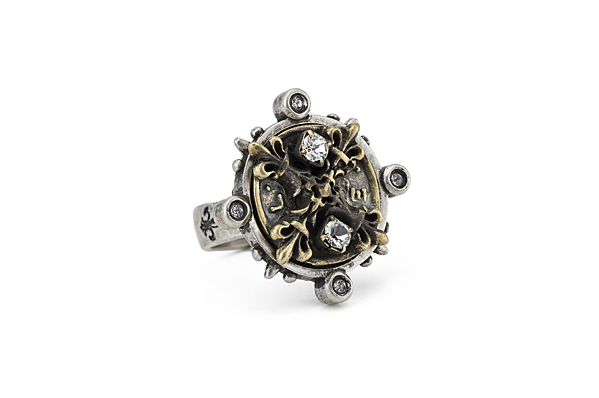 MIXED METAL SPIKED RING WITH SWAROVSKI X MEDALLION