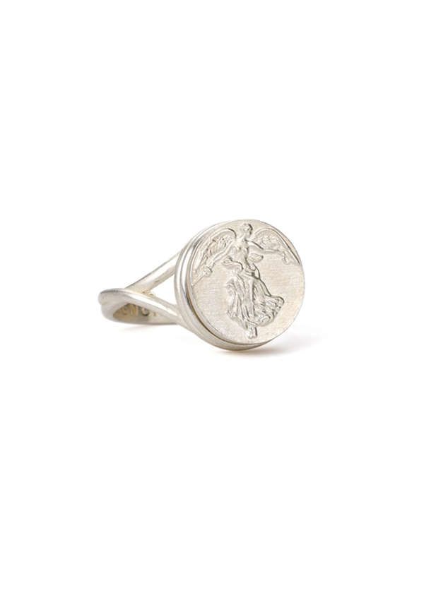 SWIRL RING WITH CHOICE OF MEDALLION SILVER
