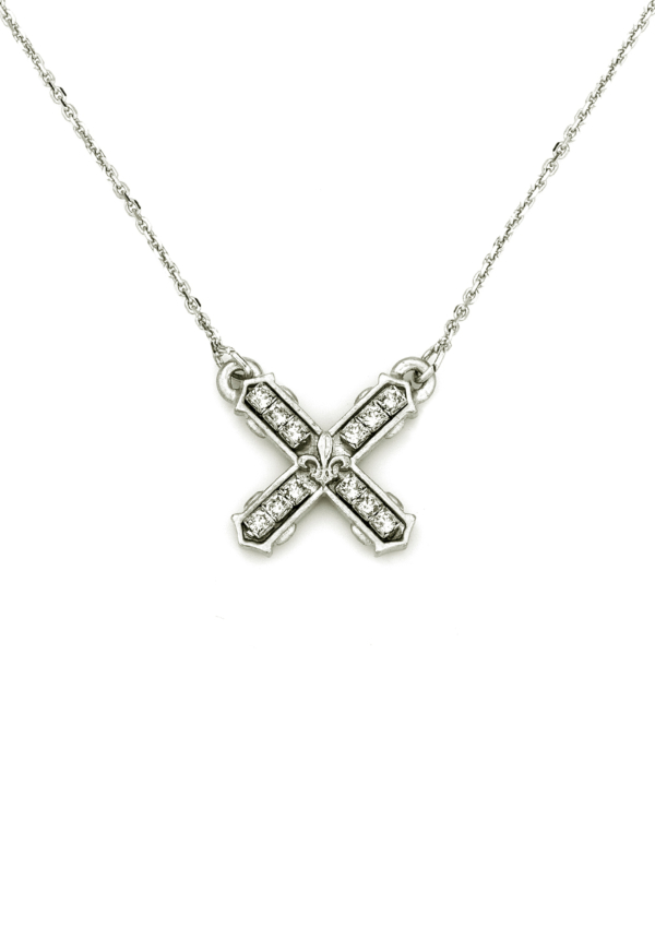 PETITE SWAROVSKI FRENCH KISS NECKLACE SILVER