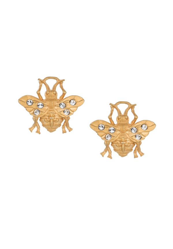 MICRO FK BEE STUD EARRINGS GOLD