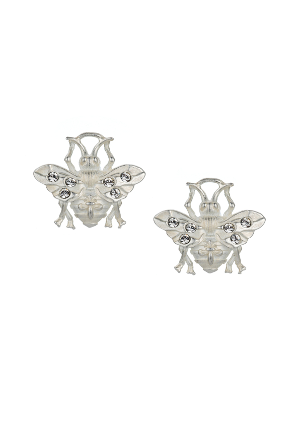 MICRO FK BEE STUD EARRINGS SILVER