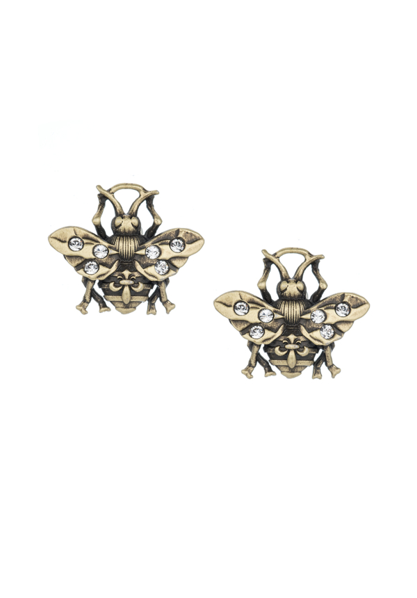 PATINA MICRO FK BEE STUD EARRINGS BRASS