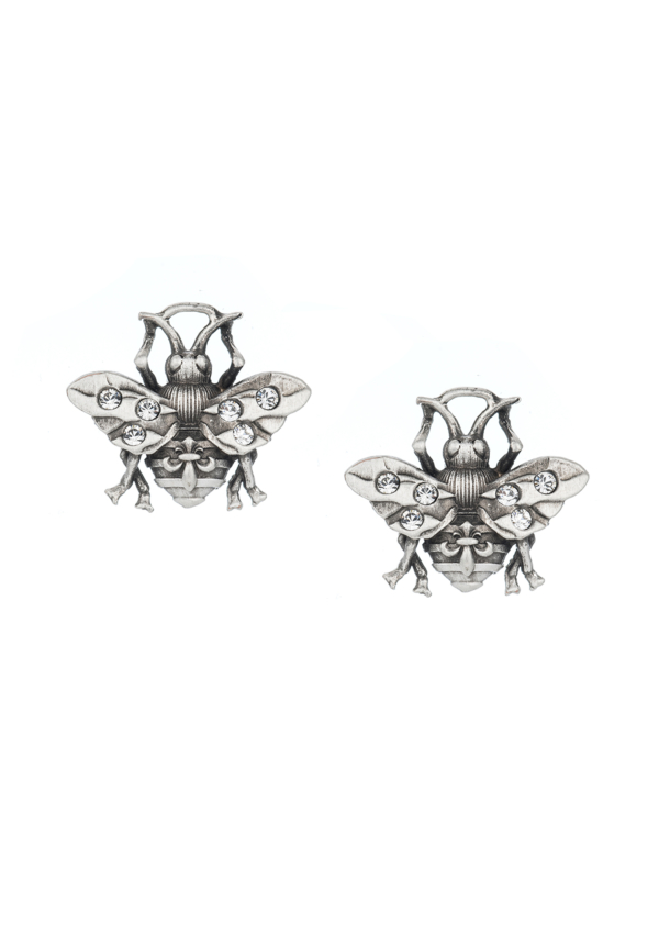PATINA MICRO FK BEE STUD EARRINGS SILVER