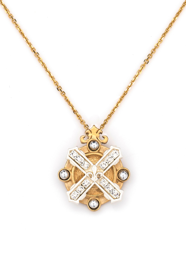 MIXED METAL ARLES NECKLACE WITH SWAROVSKI KISS STACK GOLD