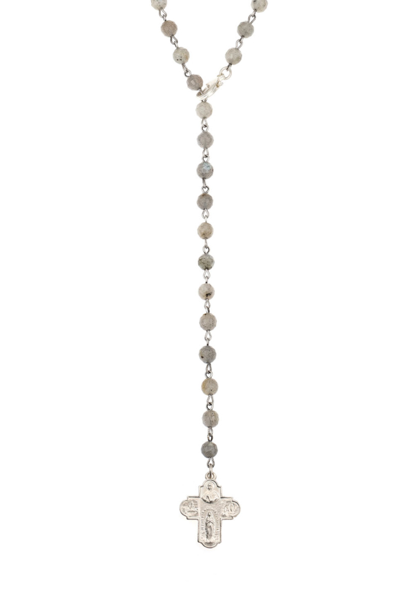FACETED LABRADORITE LARIAT WITH SILVER WIRE AND TRAVERSER SILVER