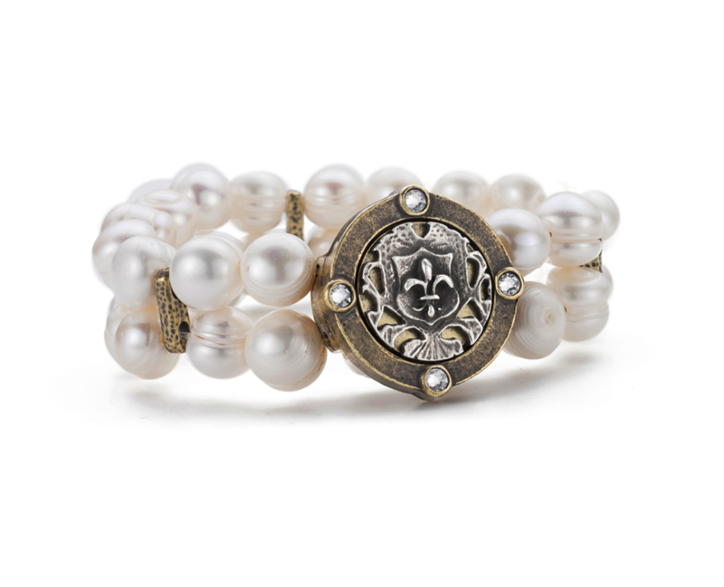 DOUBLE STRANDED PEARL WITH FLEUR MINI MEDALLION