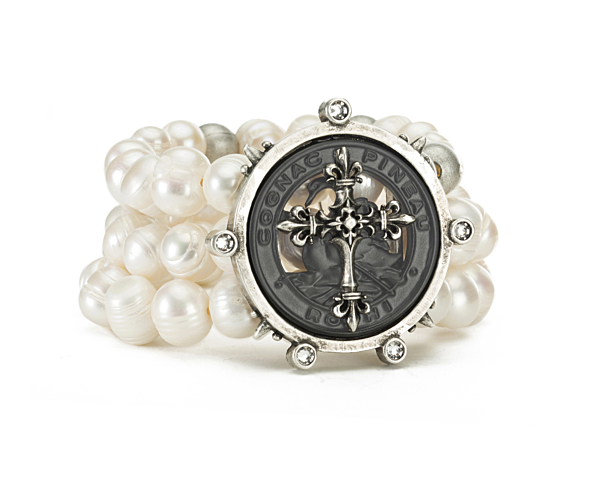 TRIPLE STRANDED PEARLS AND METAL BEADS WITH PINEAU CROSS STACK MEDALLION