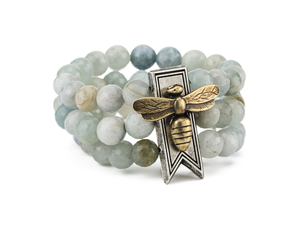 TRIPLE STRANDED FACETED AQUAMARINE WITH BAR MIEL STACK MEDALLION