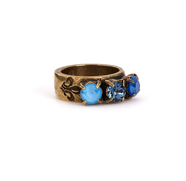 BLEU TRIPLE SWAROVSKI RING, BRASS