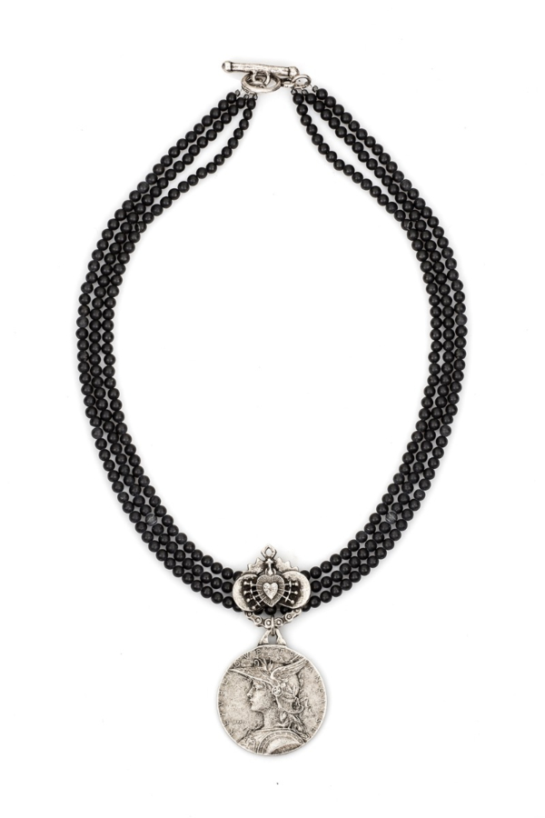 TRIPLE STRAND SANDBLAST BLACK JASPER WITH IMMACULATE HEART RELIER AND MINISTRY MEDALLION