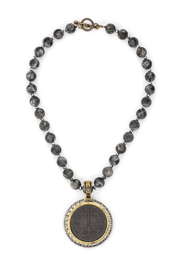 SANDBLAST BLACK LABRADORITE AND SILVER CRYSTAL WITH GRAPHITE DU TERRE MEDALLION