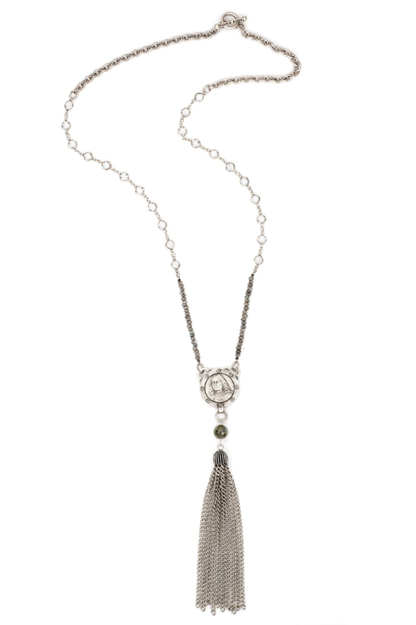 SWAROVSKI AND LABRADORITE WITH PETITE JOAN MEDALLION AND TASSEL