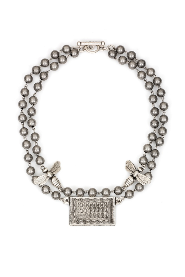 DOUBLE STRAND SILVER METAL BEAD WITH SILVER WIRE, MIEL PENDANTS AND ROUEN-TAPIS MEDALLION