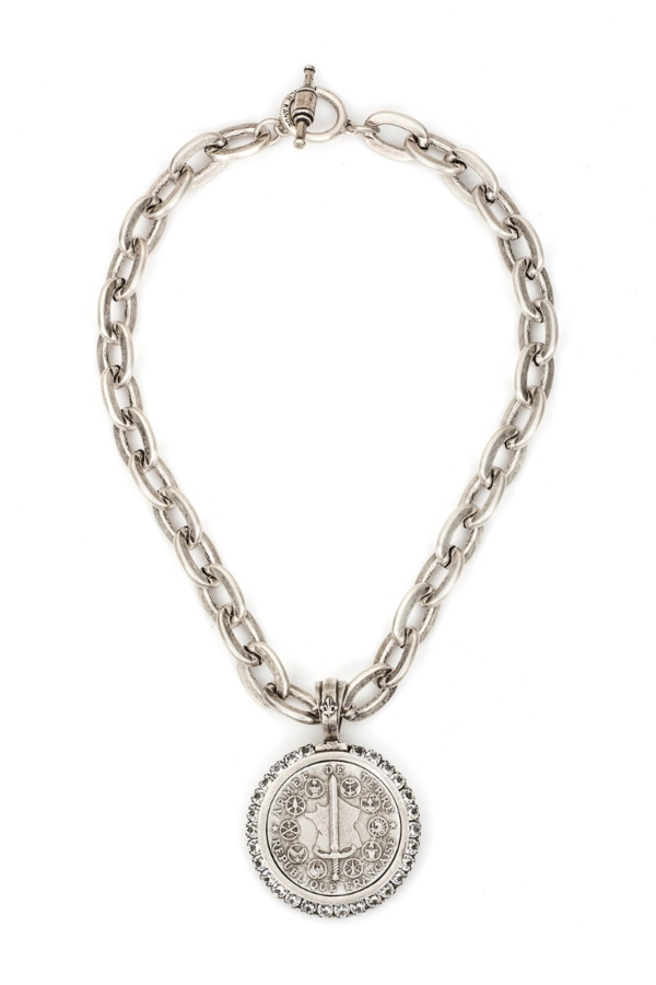 LOURDES CHAIN WITH DU TERRE MEDALLION AND SWAROVSKI