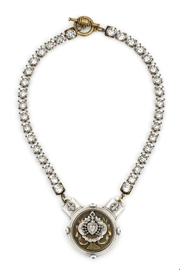 SWAROVSKI WITH PORTO I HEART STACK MEDALLION