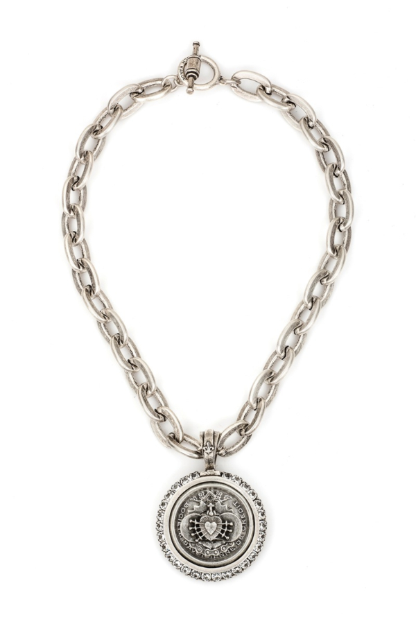 LOURDES CHAIN WITH CENTENNIAL I HEART STACK MEDALLION AND SWAROVSKI