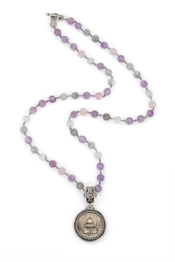 LAVENDER MIX AND BOCQUE MEDALLION WITH SWAROVSKI