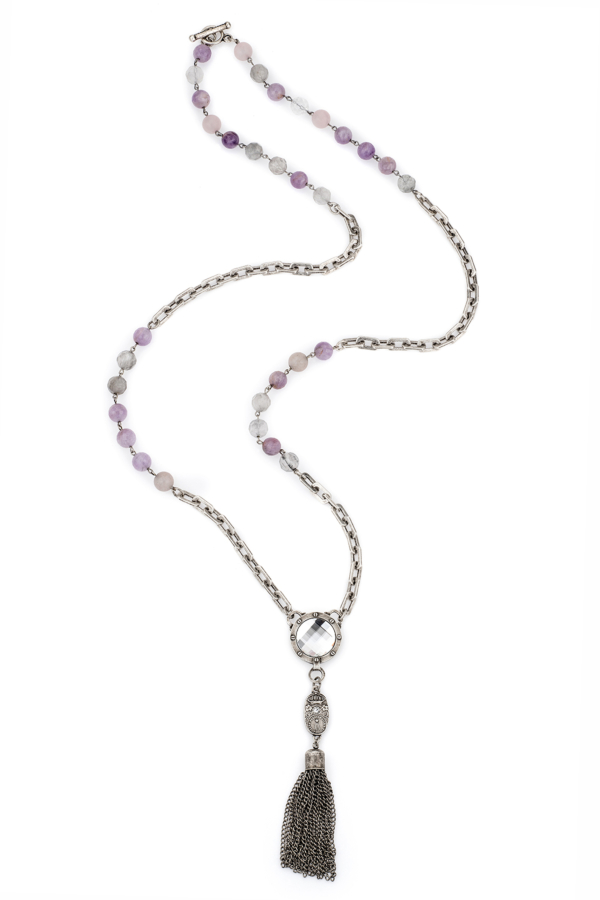 LAVENDER MIX AND HONFLEUR CHAIN WITH SWAROVSKI, CUVEE PENDANT AND TASSEL