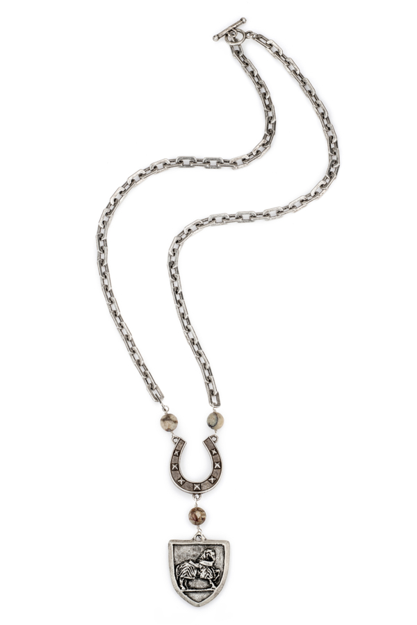 HONFLEUR CHAIN WITH AFRICAN OPAL ACCENTS, FK HORSE SHOE AND CHEVAL MEDALLION