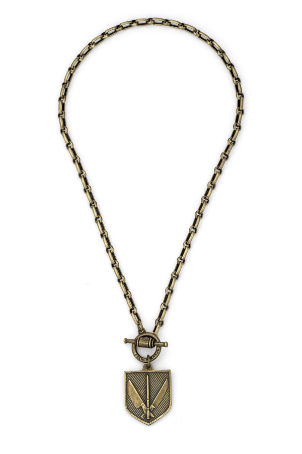 BORDEAUX CHAIN WITH MARCHE MEDALLION BRASS