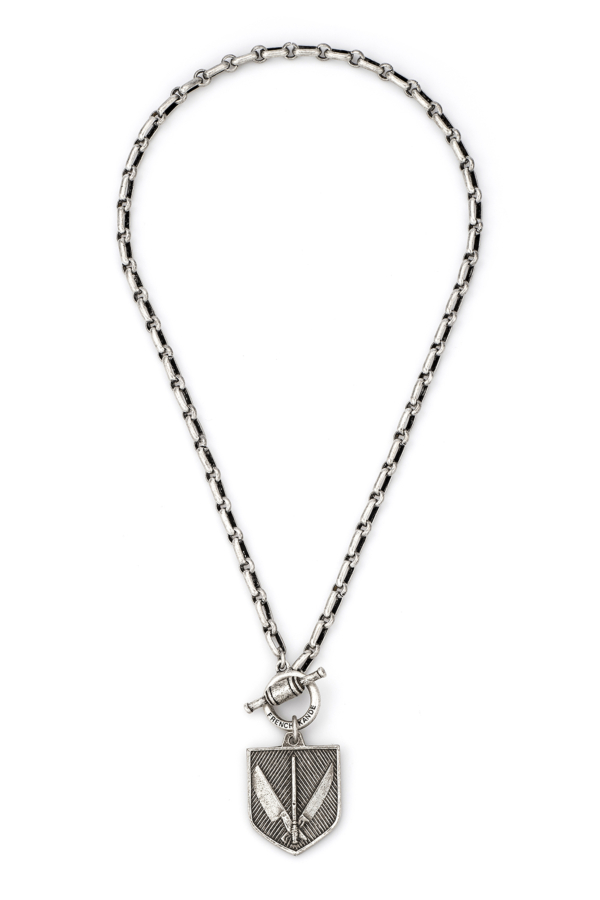 BORDEAUX CHAIN WITH MARCHE MEDALLION SILVER