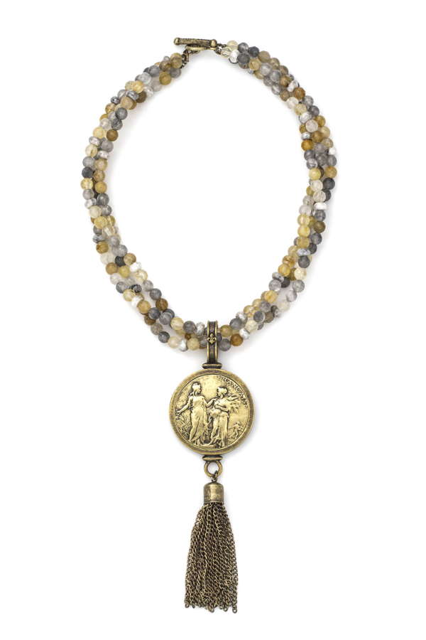 TRIPLE STRAND GOLDEN MIX WITH REPUBLIQUE MEDALLION AND TASSEL