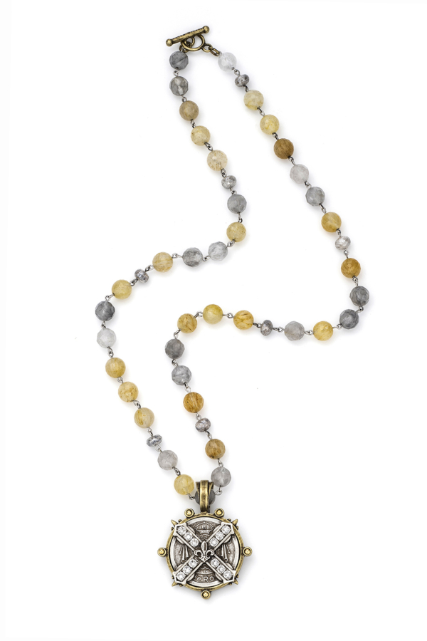 GOLDEN MIX WITH SILVER WIRE AND SWAROVSKI CUVEE B MEDALLION