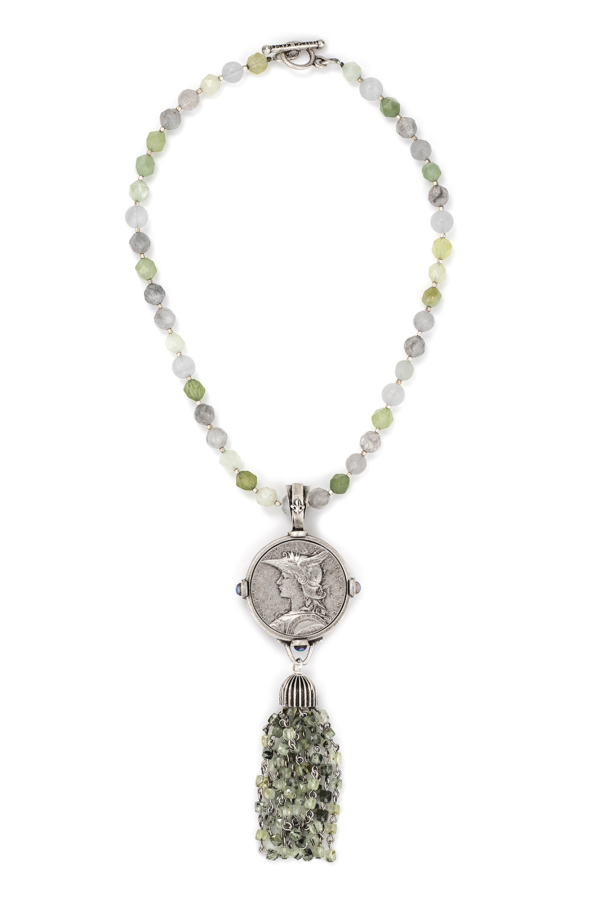 SAGE MIX AND HEISHI WITH MINISTRY MEDALLION AND PREHINITE TASSEL