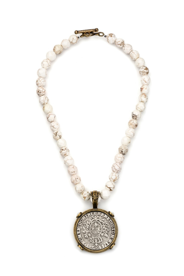FACETED WHITE TURQUOISE WITH DOMINI MEDALLION