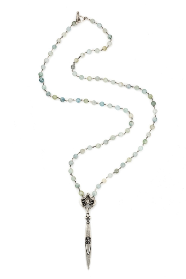 FACETED AQUAMARINE WITH SILVER WIRE, IMMACULATE HEART RELIER AND POINTU PENDANT