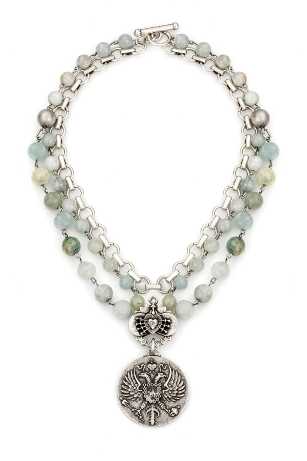 TRIPLE STRAND FACETED AQUAMARINE WITH SILVER WIRE, BABY BUBBLE CHAIN, IMMACULATE HEART RELIER AND CANARD MEDALLION