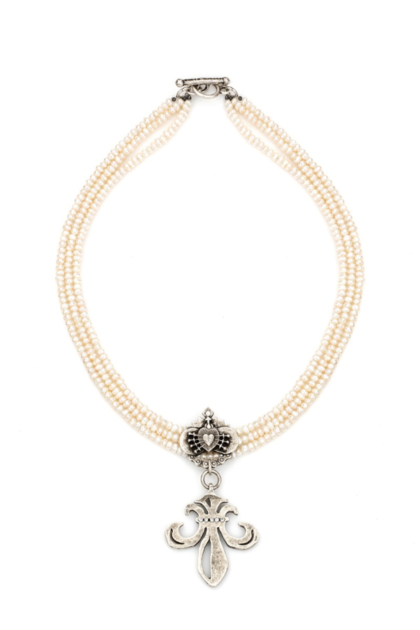 TRIPLE STRAND PEARLS WITH IMMACULATE HEART RELIER AND SWAROVSKI GRAND FLEUR MEDALLION