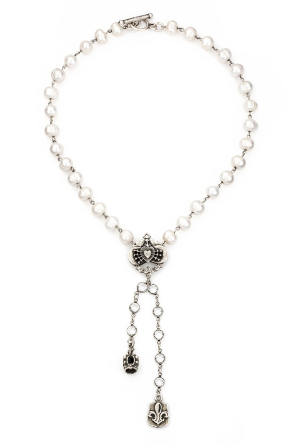 PEARLS WITH SILVER WIRE AND SWAROVSKI, IMMACULATE HEART RELIER, CROWN AND FDL PENDANTS