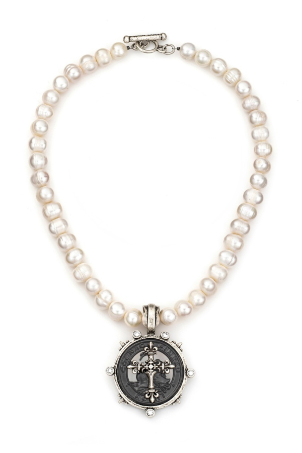 PEARLS WITH GRAPHITE PINEAU CROSS STACK MEDALLION