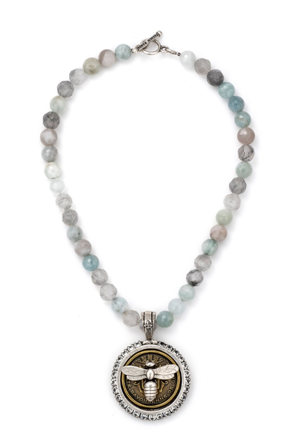 AQUAMARINE MIX AND CENTENNIAL MIEL STACK MEDALLION WITH SWAROVSKI