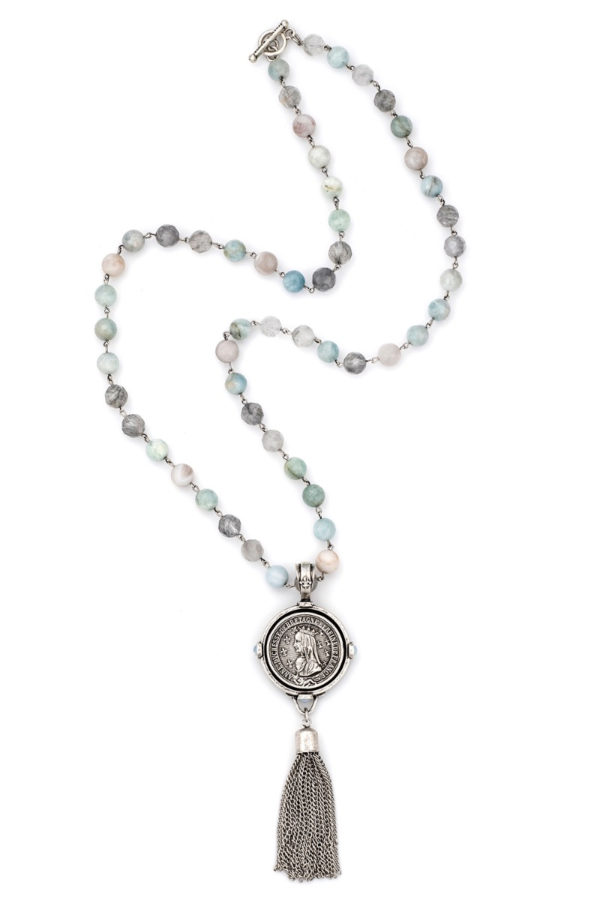 AQUAMARINE MIX WITH SILVER WIRE, BAYONNE MEDALLION AND TASSEL